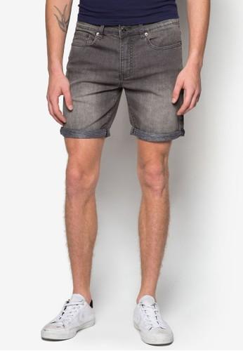 反褶暗紋丹寧短褲, 服飾,zalora 內衣 短褲