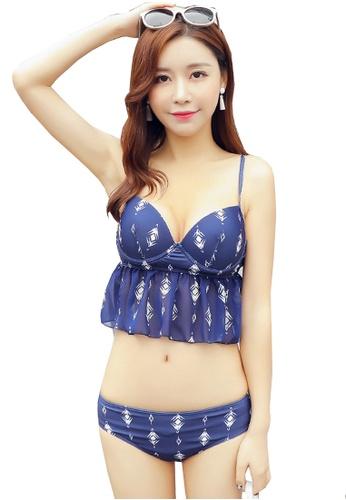 LYCKA blue LVV88768 Lady Wired Bikini and T-Shirt Three Pieces Set Blue DC0C5US93D5BFFGS_1