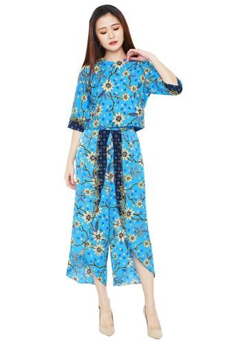 Flike Batik multi Blouse Crop Top Tangan 3/4 + Celana Alladin Motif Kembang Kamboja 4E5E8AA6B21E42GS_1