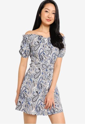 ZALORA BASICS blue Off Shoulder Mini Dress With Self Tie 13C0FAAA0C3544GS_1