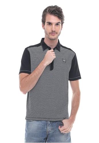 LGS - Slim Fit - Kaos Polo - Salur - Hitam Putih