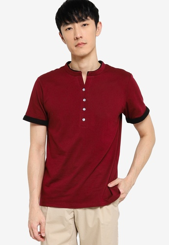 ZALORA BASICS black and red Button Down Contrast T-shirt 693BFAAA32ABCFGS_1