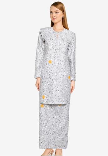 Butik Sireh Pinang grey Baju Kurung Moden Yasmin 056A1AA0D4F192GS_1