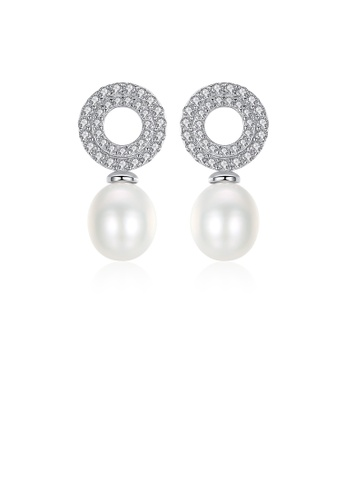 Glamorousky white 925 Sterling Silver Classic Brilliant Geometric Round White Freshwater Pearl Earrings with Cubic Zirconia EDCC6AC3A54DFDGS_1