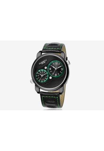Eyki black Eyki Overfly EOV8571 Dual Time Leather Watch (Black Green) EY078AC98RNLMY_1
