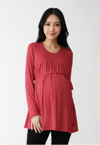 9months Maternity red Red L/S Nursing Top 6E7ADAA002EB0CGS_1