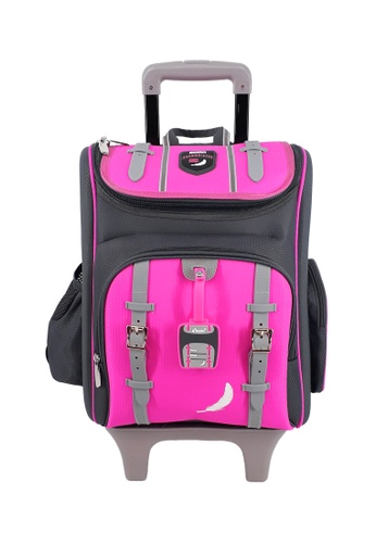 Swan pink Swan Kid Children School Bag NEW Technolite (Pink) Spinal Protection Back Support  10 Wheels Trolley School Bag A074DKCF93C21CGS_1