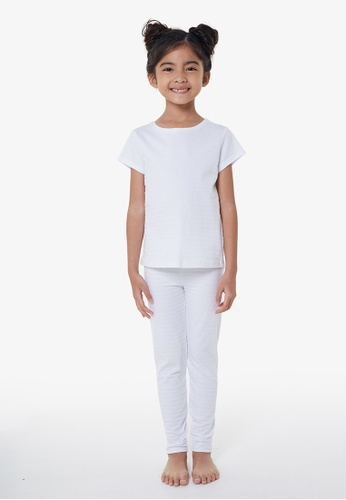 Gen Woo white White Jacquard Stripe PJ set by Gen Woo CE383KA68A23A2GS_1