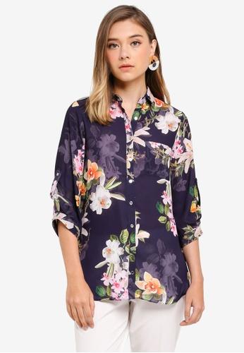 Dorothy Perkins navy Navy Printed Long Line Shirt 0A841AA85A548CGS_1