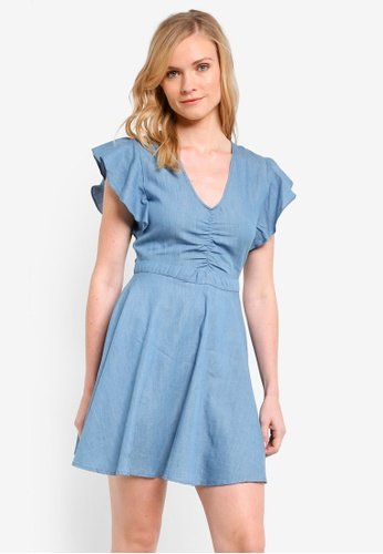 ZALORA blue Fit & Flare Ruffle Sleeve Dress D6685AA92C4996GS_1