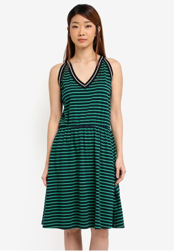 ZALORA green and multi and navy Striped Halter Fit & Flare Dress 3F8E4AA20D7660GS_1