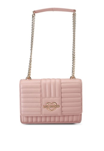 Love Moschino pink Quilted Logo Chain Shoulder Bag 83D28AC30E3FFCGS_1