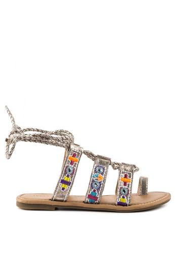 London Rag white Silver Ankle Wrap Sandal 7786CSHC5BF5CFGS_1