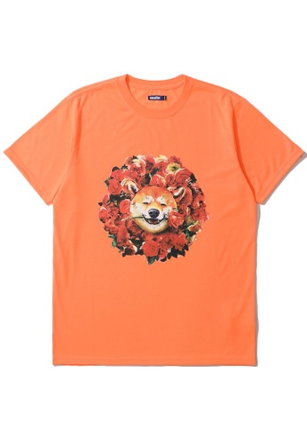 BLOCKAIT orange Akita Ken Valentine's graphic tee 7769EAA08E993CGS_1