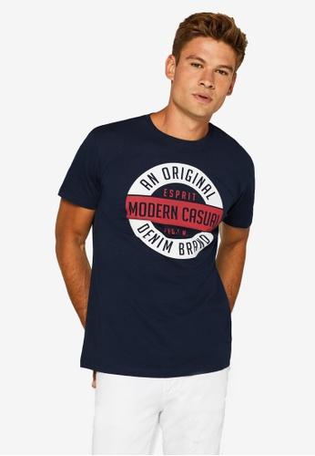 ESPRIT 海軍藍色 Logo Print Jersey T-襯衫 6AAD9AAF418563GS_1