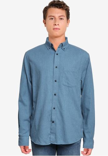 Banana Republic blue Untucked Standard-Fit Flannel Shirt FE372AAD92FC85GS_1
