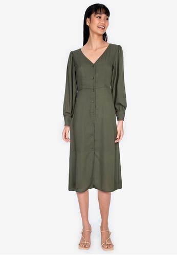 ZALORA BASICS green Puff Sleeve Button Down Midi Dress C2E86AAF45F59BGS_1
