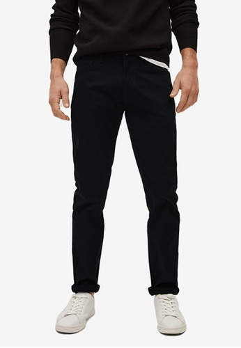 MANGO Man black Slim Fit Denim-Effect Serge Trousers 9C3EBAA2809B1EGS_1
