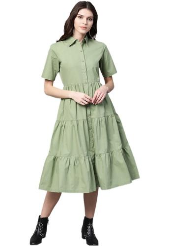 SASSAFRAS green Olive Tiered Shirt Dress E20E4AA73DF299GS_1