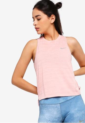 Nike pink and multi Nike Miler Running Tank Top FB59AAAEB60694GS_1