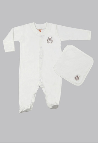 Tiny Tummies white Tiny Tummies Sleepsuit With Washcloth - Unisex FB876KADECA025GS_1