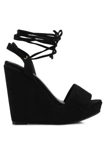 Something Borrowed black Lace Up Wedges E2CA2SH83D5B64GS_1
