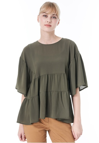 Sisley green Blouse with Frills D046CAA37A9901GS_1
