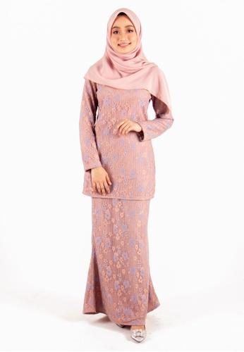 FATIMÉ brown and blue Premium Lace Fatimah (Khaki) 3D67CAA03CBCE6GS_1