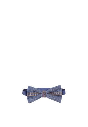 BARBA blue Denim with Rust Stitch Bow Tie BA953AC36WKPPH_1