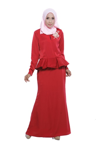 Natalie Kurung Peplum in Poppy Red from Adrini's in Red