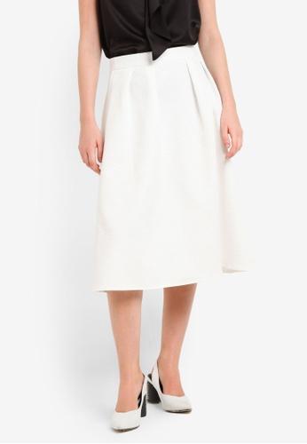Dorothy Perkins white White Textured Full Skirt DO816AA0REWKMY_1