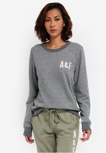 Abercrombie & Fitch grey Sunfade Tech Logo Crew Sweatshirt 1360CAAD488FFDGS_1