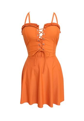 ZITIQUE orange Women's Ribbon Cross Back One-piece Swimsuit - Orange FA825US0A6D007GS_1