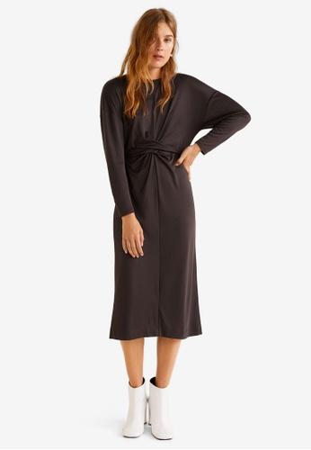 Mango brown Bow Belted Dress D424FAA5965F6BGS_1