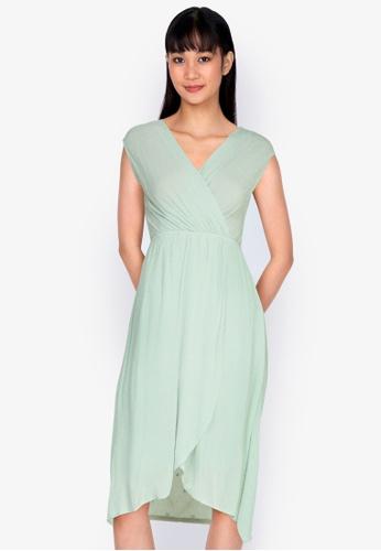 ZALORA BASICS green Tulip Wrap Mini Dress 4CF9AAACDC7091GS_1