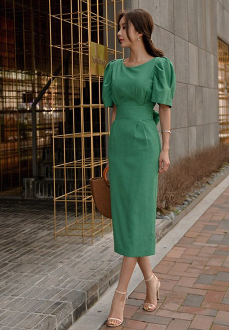 CA071822 One Green Tunic Dress Piece Midi Green New 2018 Sunnydaysweety UTq4x0O