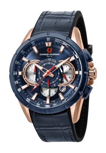 Charles Jourdan blue Charles Jourdan Men CJ1029-1582C Blue Silicone Leather Watch CH774AC0WAPMID_1