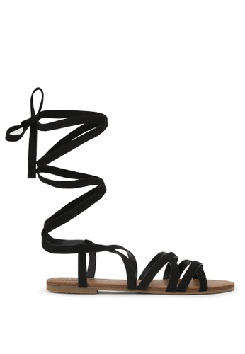 London Rag 黑色 LONDON RAG 女式黑色系带平底凉鞋 D3BB0SH72CE3EEGS_1