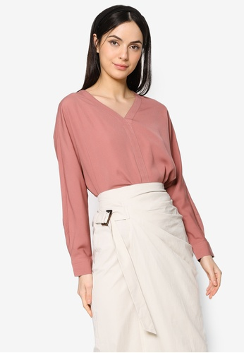 ZALIA BASICS pink V-Neck Placket Blouse 06774AA5BB0A82GS_1
