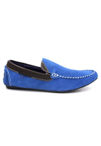 midzone blue Suede Leather Boat Shoes MI949SH36ZHNMY_1