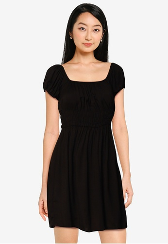 Cotton On black Woven Frankie Puff Sleeve Shirred Fit And Flare Mi 2EBB6AA5BA524CGS_1