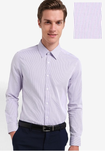 G2000 purple Slim Fit Striped Shirt G2754AA74RKFMY_1