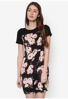 【ZALORA】 Nacita 花卉圖案短袖洋裝