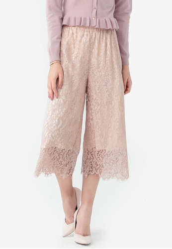 Kodz beige Scallop Edge Lace Culottes 77EE0AA1F22557GS_1