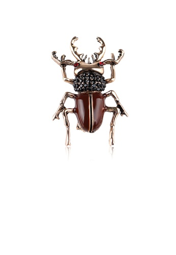Glamorousky black Fashion Personality Plated Gold Beetle Brooch with Cubic Zirconia BF491AC9E494B9GS_1