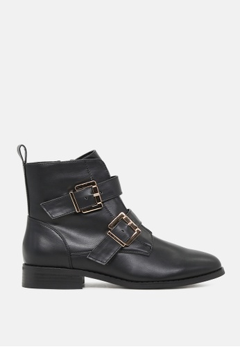 London Rag black Strappy Wide Fit Ankle Boots with Buckles SH1779 C1E7BSH236A9D3GS_1