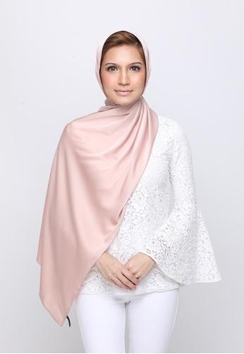 VELRIA pink and orange TIARA Plain Soft Satin Shawl in Peachskin E2347AA745800CGS_1