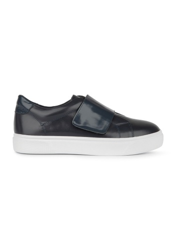 MAUD FRIZON navy Calf Leather Sneaker With Velcro Strap 10581SHCB63999GS_1