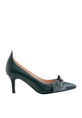 eq:iq green eqEBONY Kidskin Pointed-toe High Heels with Studded Bow EQ351SH0FBFJSG_1