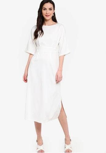 ZALORA WORK white Kimono Midi Dress With Slits 1BC42AA68EA917GS_1